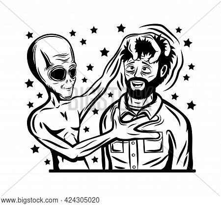 Illustration With Extraterrestrial Alien And Human On White Background.