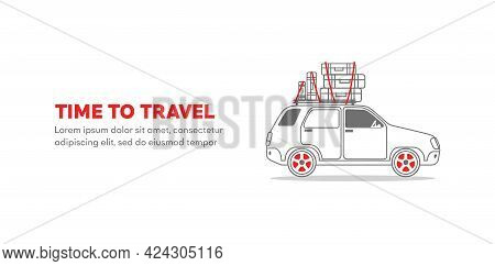 Patrol Car Vector Outline Illustration Isolated On White Background - Mini Car, Travel, Trip, Templa