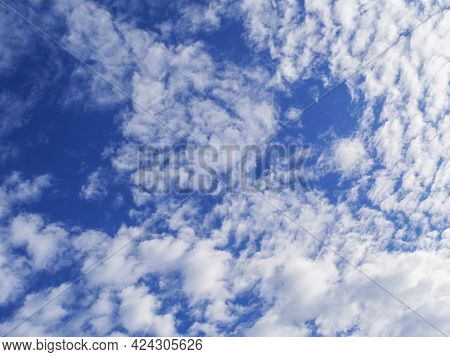 Beautiful Clouds With Blue Sky Background. Nature Weather, Cloud Blue Sky