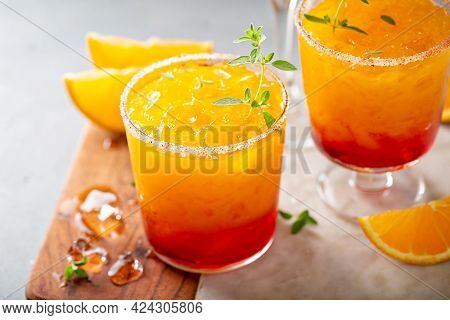 Tequila Sunrise Margarita Cocktail With Ice, Refreshing Drink