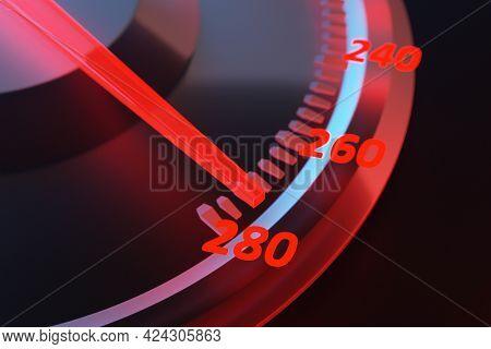 3d Illustration New Car Interior Details. Speedometer Shows 280 Km H , Tachometer  With  Red Backlig