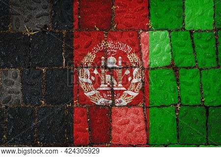National Flag Of Afghanistan On Stone  Wall Background. Flag  Banner On  Stone Texture Background.
