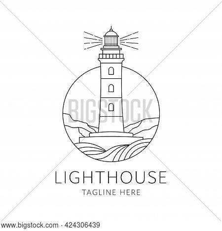 Lighthouse Badge Logo Monoline Style Design Isolated On White Background. Lighthouse On Icon Flat Ve