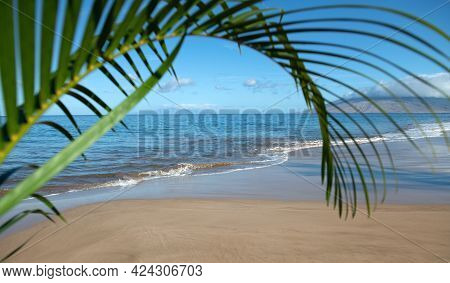 Idyllic Scene Beach In Thailand. Tropical Blue Sea And A Sand Beach Background. Green Leaves Of Palm