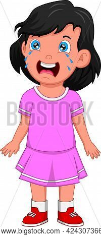 Little Girl Is Crying Isolated On White Background