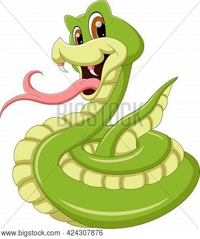 Cartoon Snake Sticking Out Its Tongue On White Background