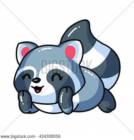 Vector Illustration Of Cute Baby Raccoon Cartoon Lay Down