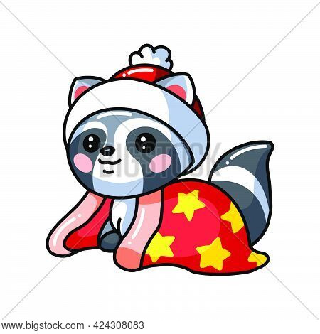 Vector Illustration Of Cute Baby Raccoon Cartoon With Hat And Blanket