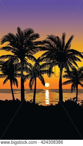 Silhouettes Of Palm Trees. Sunset On A Tropical Island