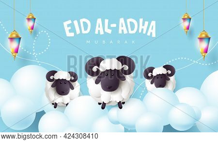 Eid Al Adha Mubarak The Celebration Of Muslim Community Festival Calligraphy With White Sheep And Cl