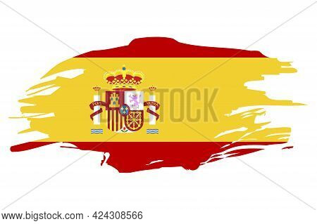 Illustration With Spanish Flag. National Flag Graphic Design. Spanish Flag In Flat Style. Vector Ill