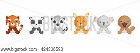 Cute Sitting Baby Animals In Cartoon Style. Collection Animals Characters For Kids Cards, Baby Showe