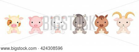 Cute Sitting Baby Animals In Cartoon Style. Collection Farm Animals Characters For Kids Cards, Baby