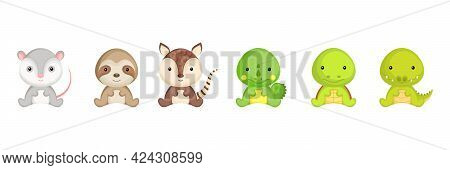 Cute Sitting Baby Animals In Cartoon Style. Collection Exotic Animals Characters For Kids Cards, Bab