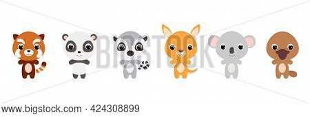Cute Baby Animals In Cartoon Style. Collection Animals Characters For Kids Cards, Baby Shower, Birth