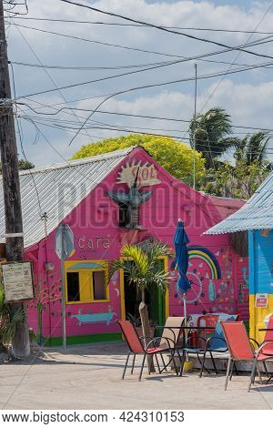 Colored House On The Tropical Island Of Holbox, Quintana Roo, Mexico