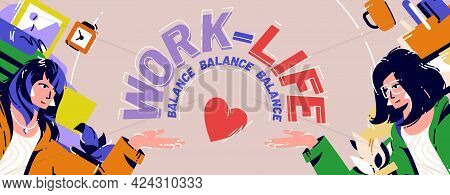 Work And Life Balance Cartoon Poster, Businesswoman Sitting At Workplace Solve Dilemma Choosing Betw