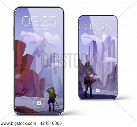 Smartphone With Screensaver Wallpaper With Winter Mountain Landscape And Hiker. Vector Realistic Set