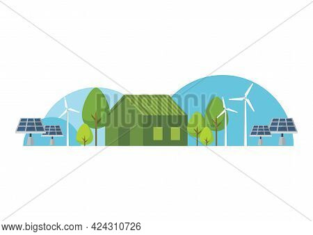 Eco House With Green Energy. Vector Illustration