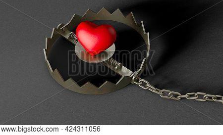 Heart In A Trap. Red Heart Bait In A Trap. 3d Render