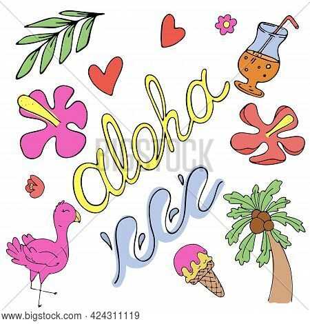 Aloha, Flowers, Palms, Waves, Vector Set Of Colored Doodle Elements With Black Outline