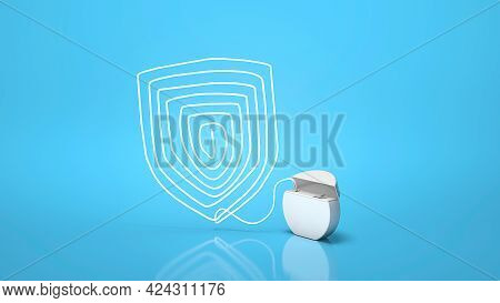 Dental Floss. Teeth Protection. Dental Floss Shield On A Blue Background. 3d Render
