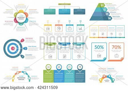 Set Of Infographic Elements - Cricle Diagram, Flowchart, Pyramid, Steps Or Options, Workflow Diagram