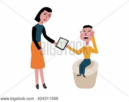 The Mother Took The Tablet Away From The Child. The Boy Cries And Does Not Want To Give The Gadget T