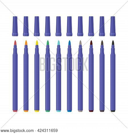 A Large Set Of Colored Markers Of Different Colors. School Color Markers For Drawing. A Set For Crea