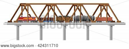 Cargo Train On Bridge. Wagons, Cisterns, Tanks, Cars. Railroad Freight Collection. Flatcar, Boxcar.