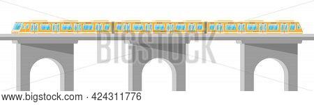 Skytrain Isolated On White. Super Streamlined Train. Passenger Express Railway Locomotive. Monorail