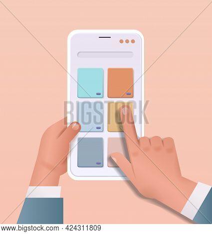 Developer Hands Creating Mobile User Interface On Smartphone Screen Web Application Development Prog