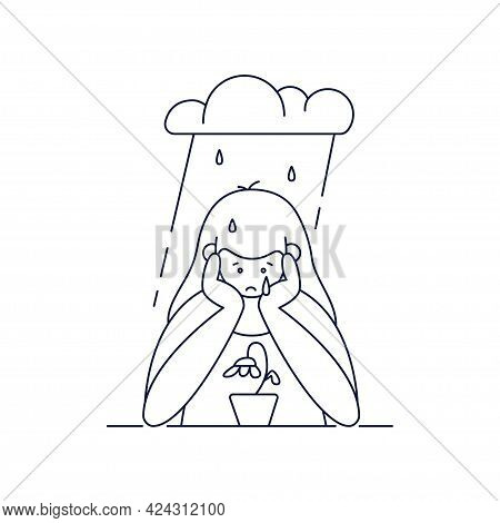 Depression, Sadness, Mental Illnesses Vector Illustration. Sad, Unhappy Teenage Girl Is Melancholy,