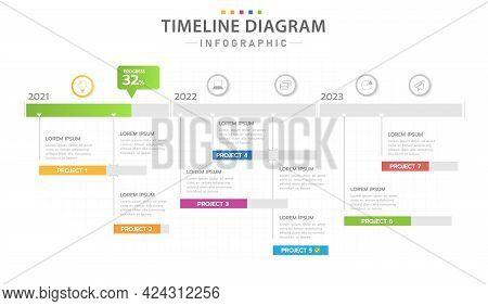 Infographic Template For Business. Modern Timeline Diagram Calendar With 3 Years Gantt Chart, Presen