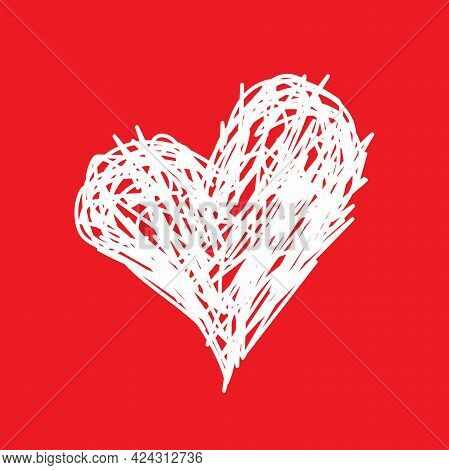 Shabby Pen Drawn Heart Isolated On Red Background. Love, Romantic Icon. Best, Favorite, Like Concept