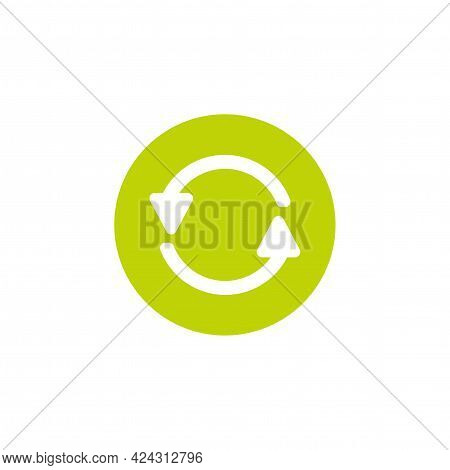 Refresh Or Reload Icon. Two Green Round Rotation Arrows Isolated On White. Flat Icon. Exchange Icon.