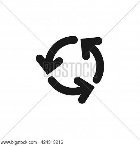 Refresh Or Reload Icon. Three Black Round Rotation Arrows Isolated On White. Flat Icon. Exchange Ico