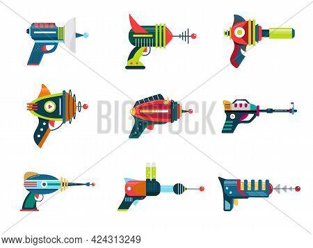 Cartoon Blaster Laser Gun Vector Weapon Set