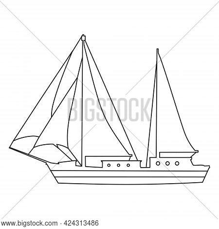 Sailboat Line Icon Logo Design Marines, Peedboat, Ship, Vessel, Side View. Vector Illustration Outli