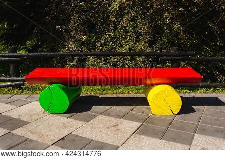Colorful Bright Park Bench, Colorful Outdoor Park Bench Design.