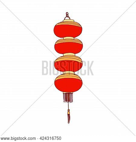 Traditional Chinese Paper Lantern With Fringe. Hanging Religious Street Light For China. Asian Festi