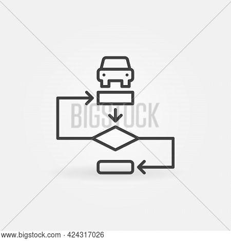 Autopilot Algorithm Outline Vector Concept Icon Or Sign