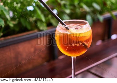 Aperol Spritz Cocktail Aperitif Outdoors With Shallow Depth Of Field