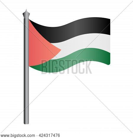 Palestine Flag. Three Stripes And A Triangle On The Fabric. Colored Vector Illustration. The Nationa