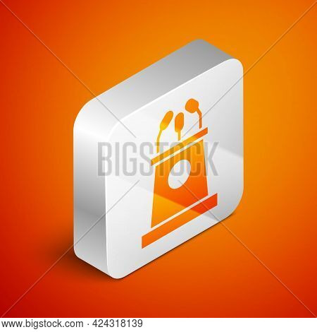 Isometric Stage Stand Or Debate Podium Rostrum Icon Isolated On Orange Background. Conference Speech