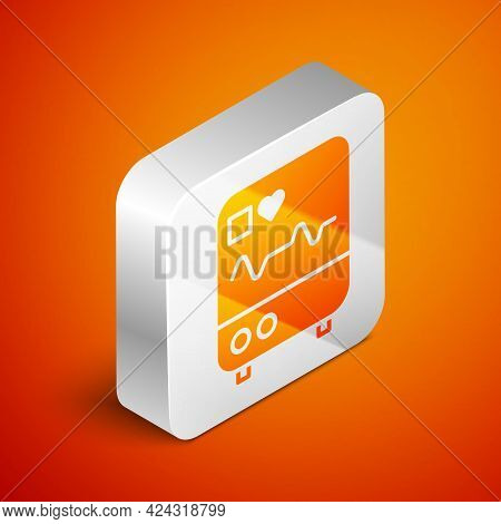 Isometric Computer Monitor With Cardiogram Icon Isolated On Orange Background. Monitoring Icon. Ecg