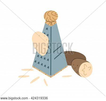 Process Of Grating Fresh Raw Potato With Steel Sharp Box Grater. Preparing Vegetable Ingredient For