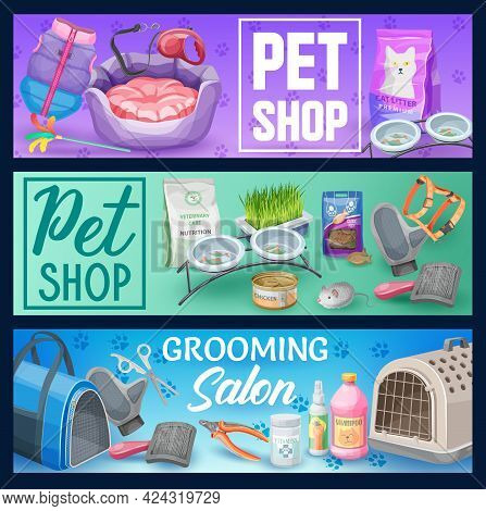 Cat Pet Animal Care Vector Banners With Pet Shop Supplies And Grooming Salon Accessories. Cat Or Kit