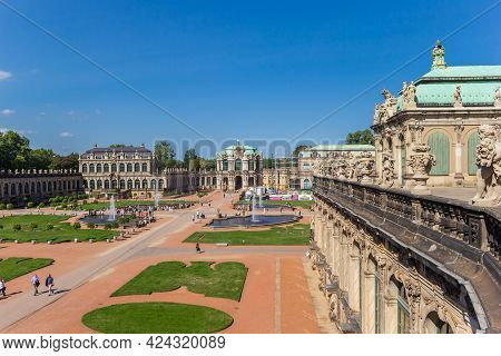 Dresden, Germany - September 11, 2020: Balcony With Sculptures At The Zwinger Complex In Dresden, Ge