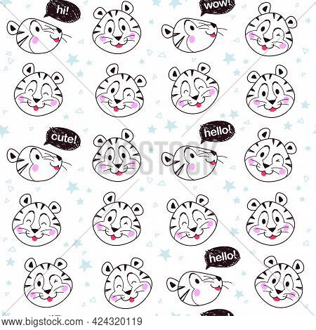 Seamless Pattern With Cute Little Tiger Characters Portrait Smile, Happy, Wink, Speak  Isolated. Vec